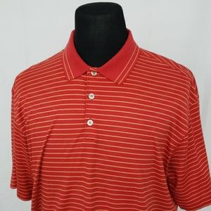 Nike Golf S/S Striped Polo Shirt Red Yellow